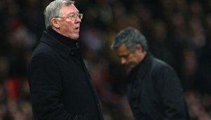 Ferguson (foreground) and Mourinho